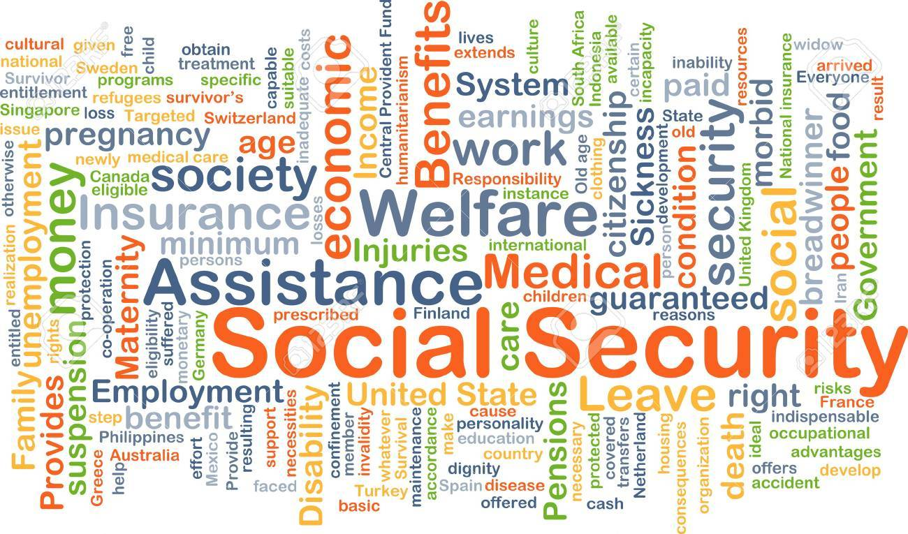 Background concept wordcloud illustration of social security - 43980176
