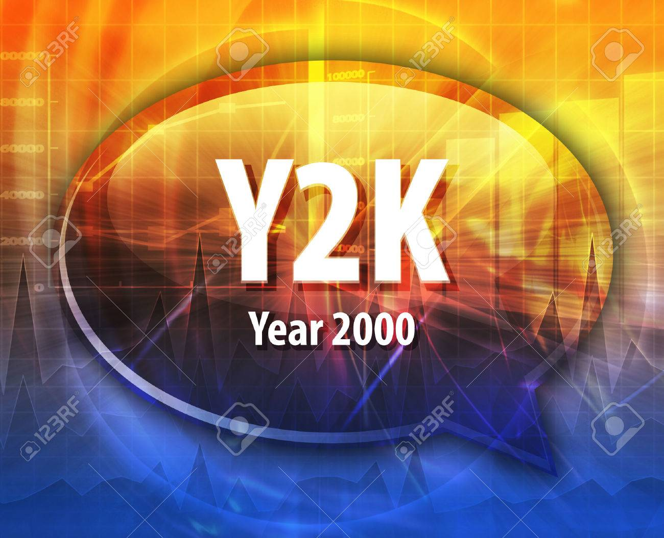 Speech bubble illustration of information technology acronym abbreviation term definition Y2K Year 2000 - 43979978
