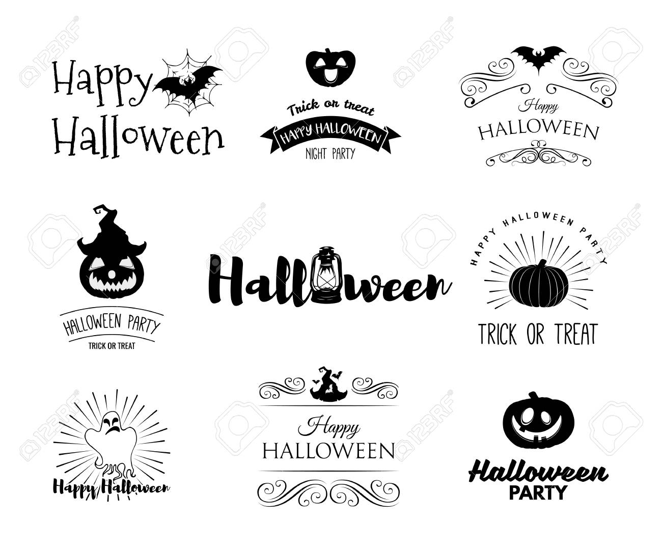 halloween party invitation label templates with holiday symbols