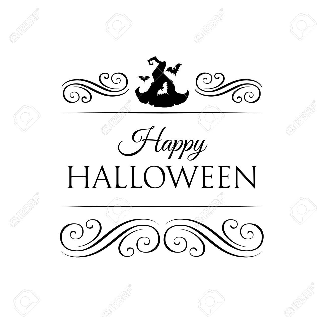 バットと帽子の魔女と可愛いハッピーハロウィン カード。 イラスト