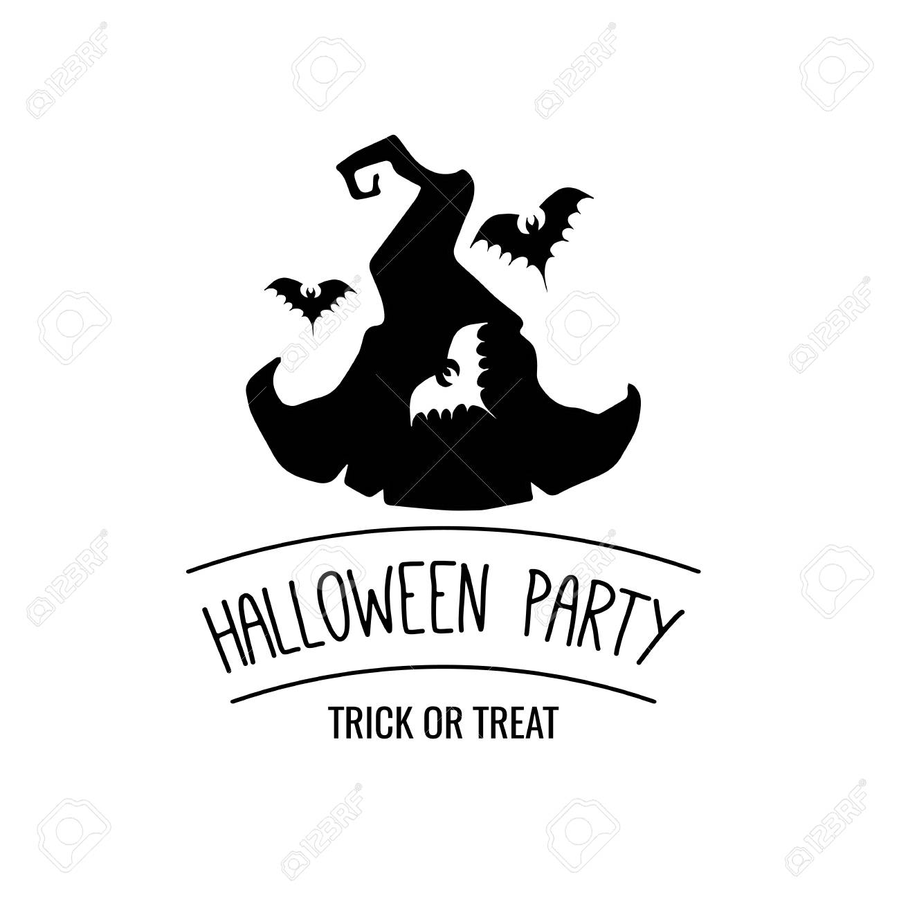 Hat witch the silhouette of a bat halloween party badge the hat witch the silhouette of a bat halloween party badge the invitation sample stopboris Choice Image