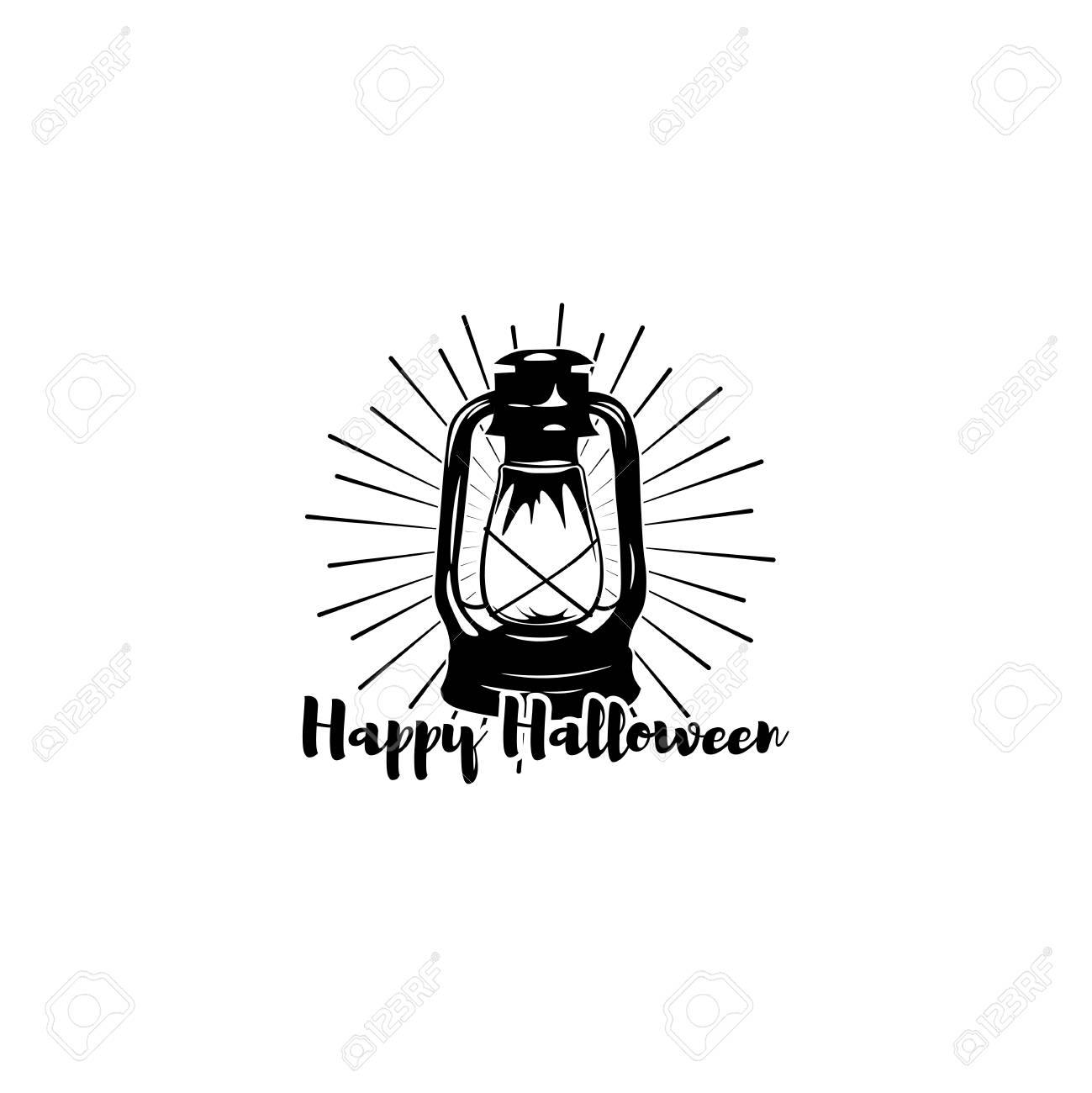 Superb Happy Halloween. Trick Or Treat. Night Party Lable With Lamp. Burning  Lantern Isolated