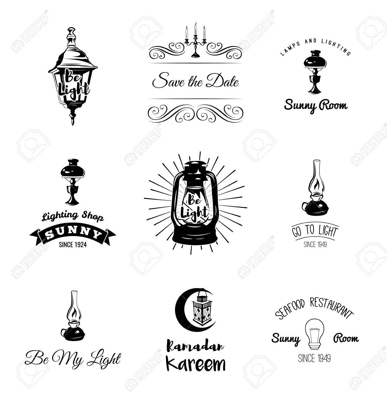 Lamps And Lighting >> Set Of Vintage Lamps And Lighting Logo Emblems Badge And Design