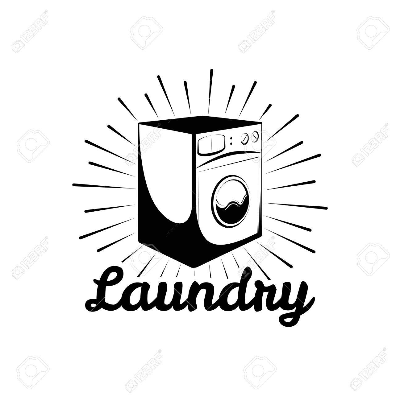 Laundry Room And Dry Cleaning Label Badge Isolated On White Background