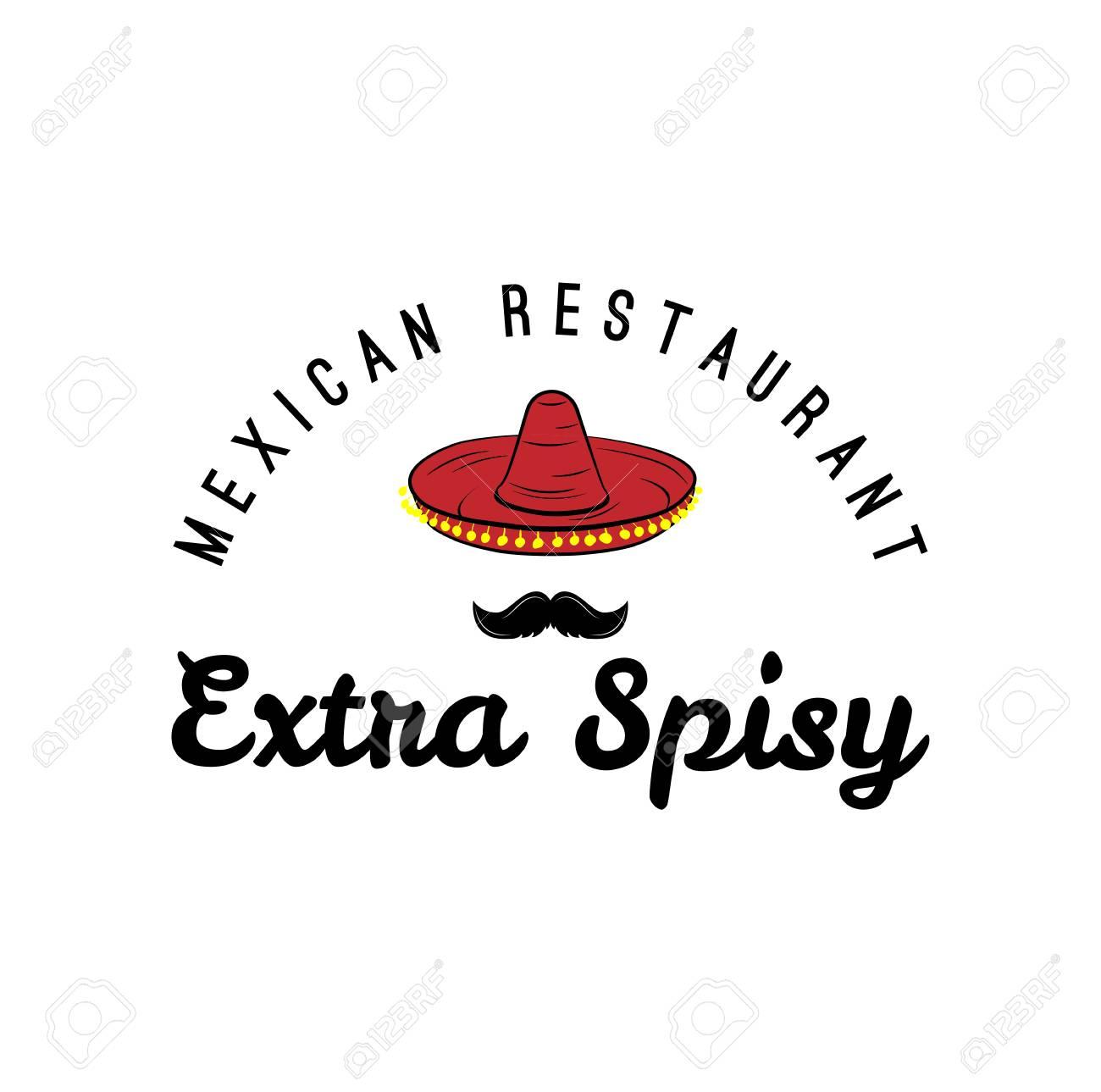 Sombrero Y Bigote Etiqueta. México Alimentos. Tradicional Signo ...