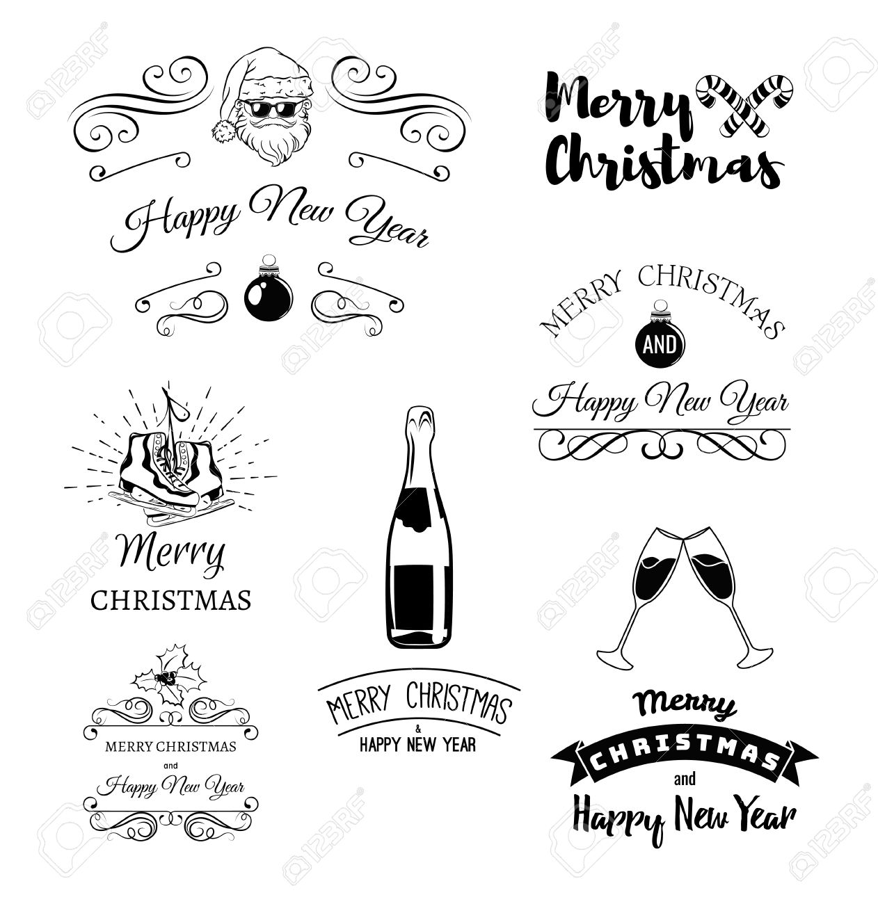Vintage xmas merry christmas and happy new year greeting card merry christmas and happy new year greeting card set glass champagne cool santa claus snowman clink glasses bottle champagne m4hsunfo