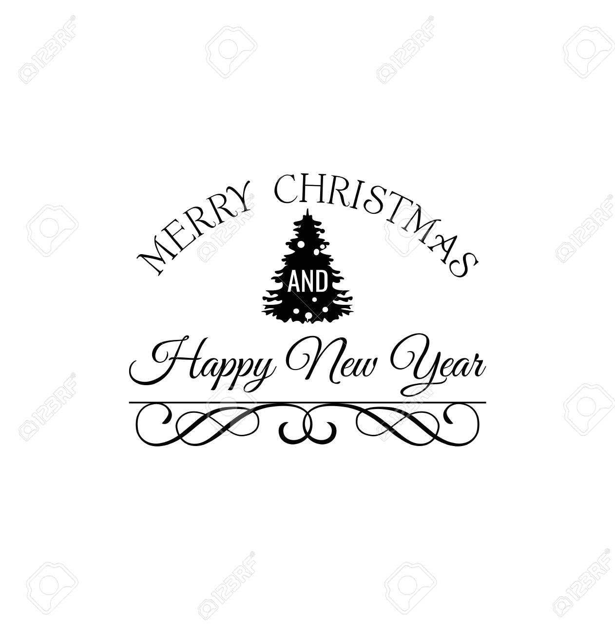 Rbol De Navidad. Feliz Navidad Y Feliz Año Nuevo Etiqueta. Plantilla ...