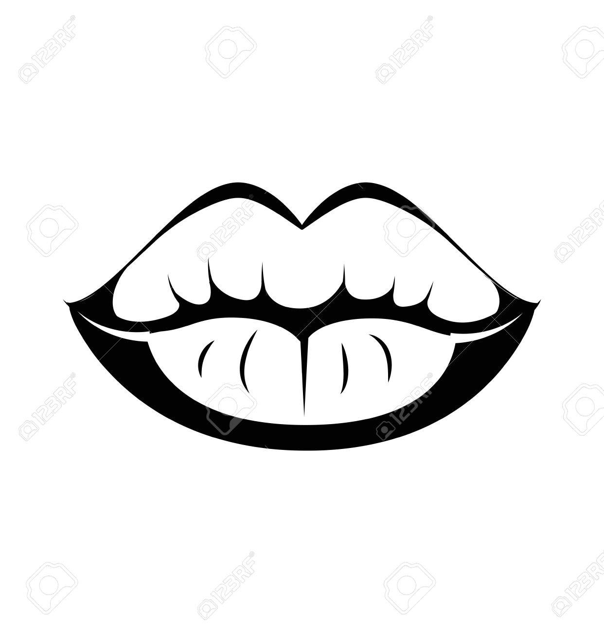 Black lips kiss lips vector lips close up white background vector illustration isolated on