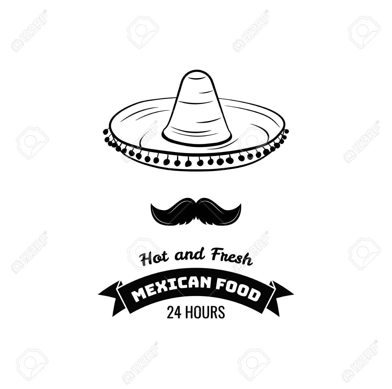84397667cbc85 Foto de archivo - Sombrero y bigote etiqueta. México Alimentos. Tradicional  signo de cocina mexicana para el restaurante. Ilustración