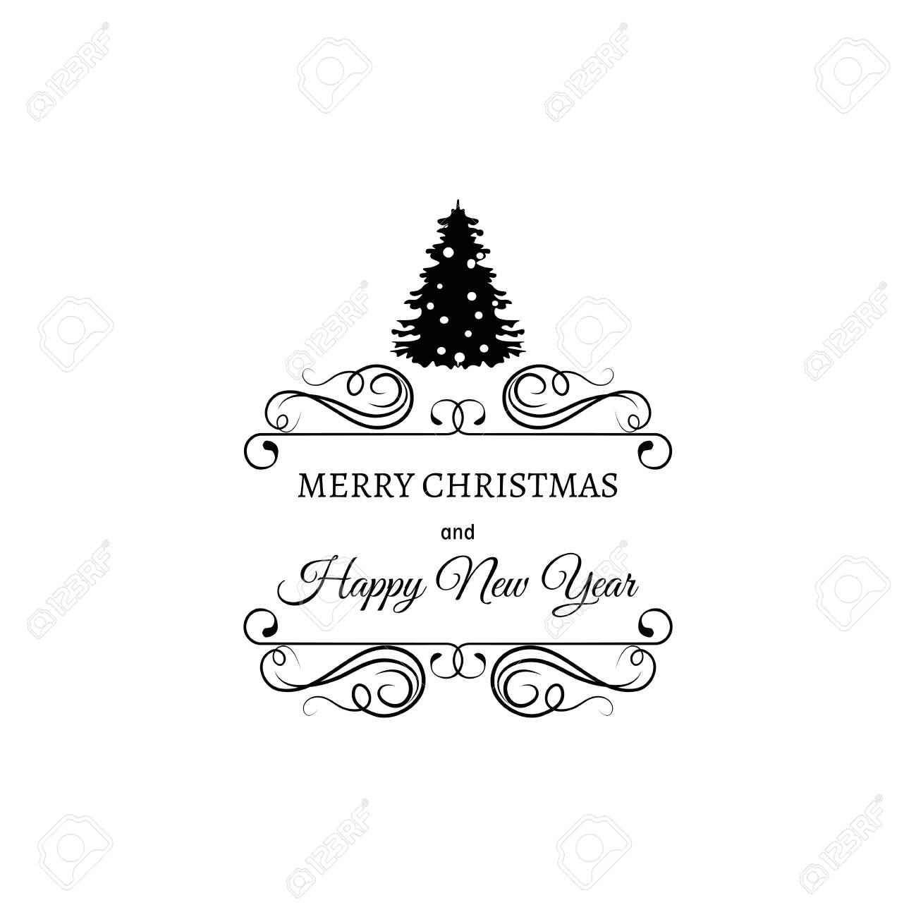 christmas tree merry christmas and happy new year label template for greeting cards