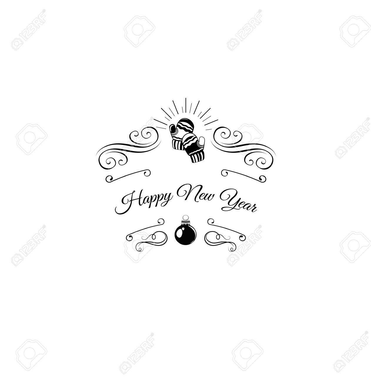Mitones De Lana. Feliz Navidad Y Feliz Año Nuevo Etiqueta. Plantilla ...
