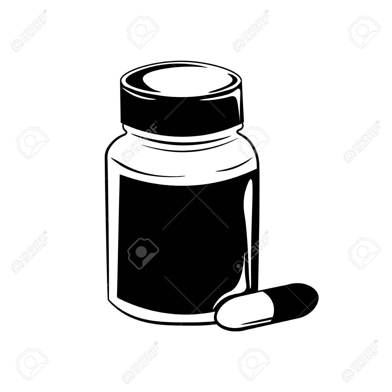 pill bottle vector illustration isolated on white background rh 123rf com Glass Bottle Clip Art Glue Bottle Clip Art Black and White