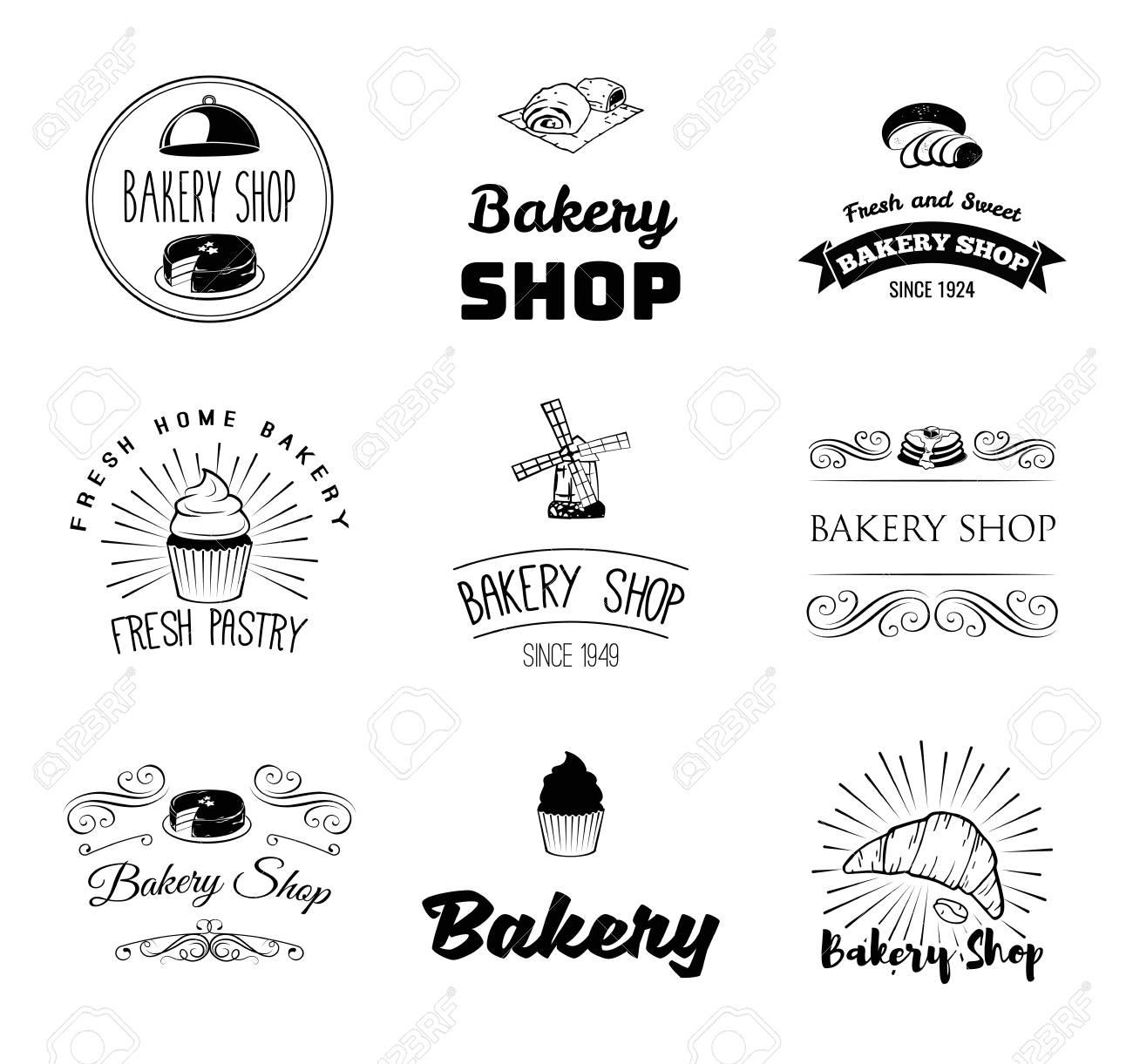 Vector Conjunto De Panadería Y Pan Plantilla, Etiquetas, Insignias Y ...