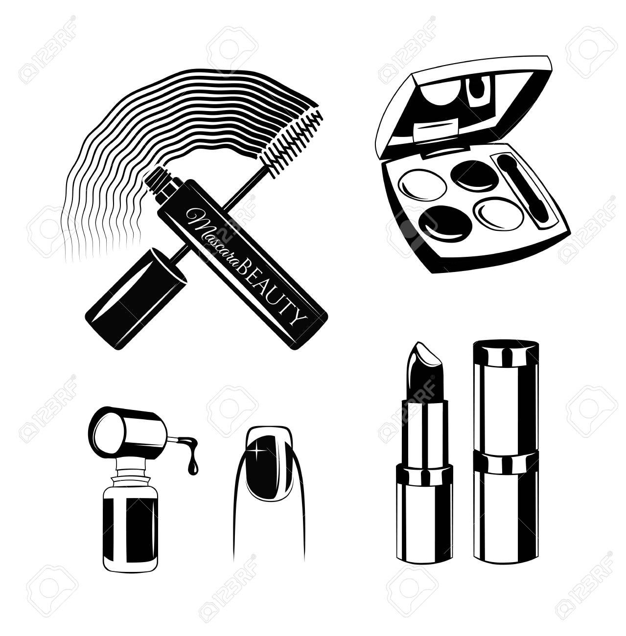 Cosmetics set drawing by hand  Nail polish, mascara, lipstick,