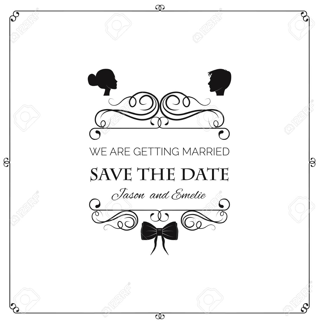 Wedding Invitation. Vector Silhouette Bride And Groom. Wedding ...