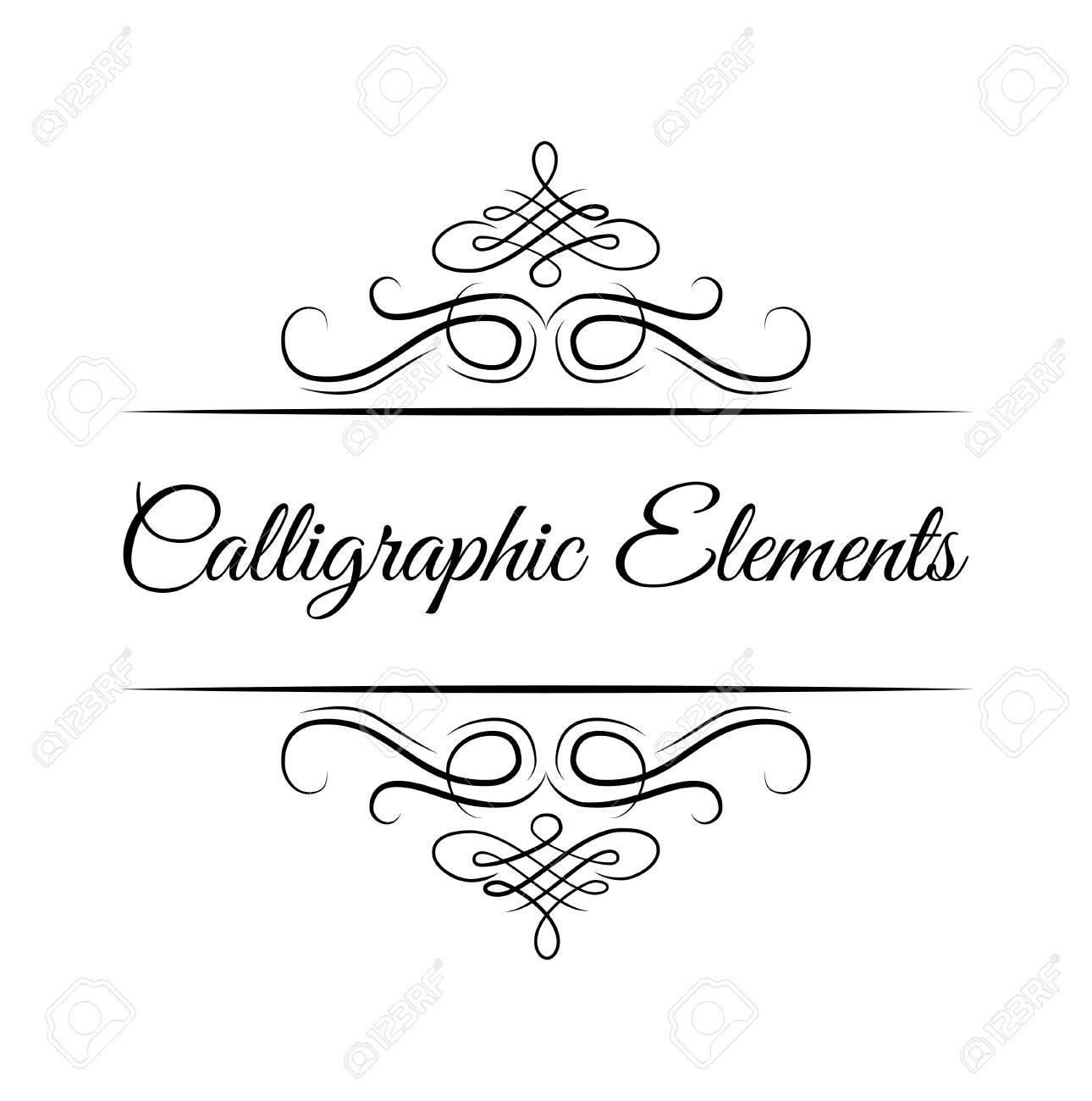 Calligraphic Design Elements Decorative Swirls Or Scrolls