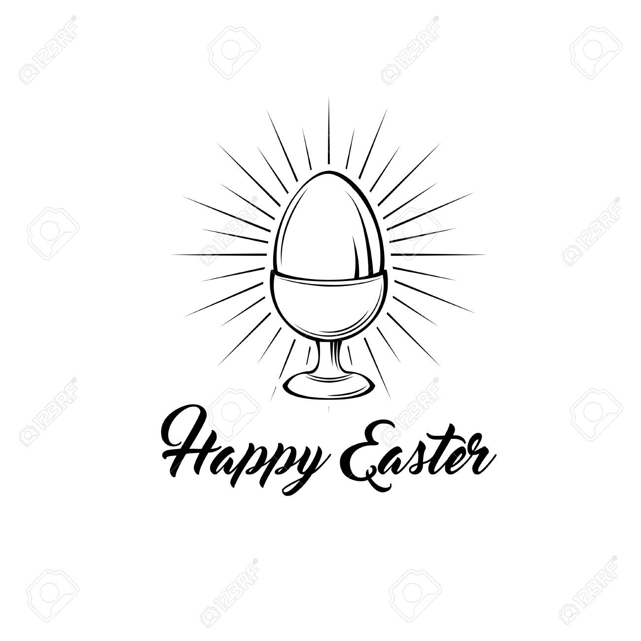 Happy easter day greeting card with egg holder. Egg-cup in beams. Vector illustration. Happy Easter text. - 97217091