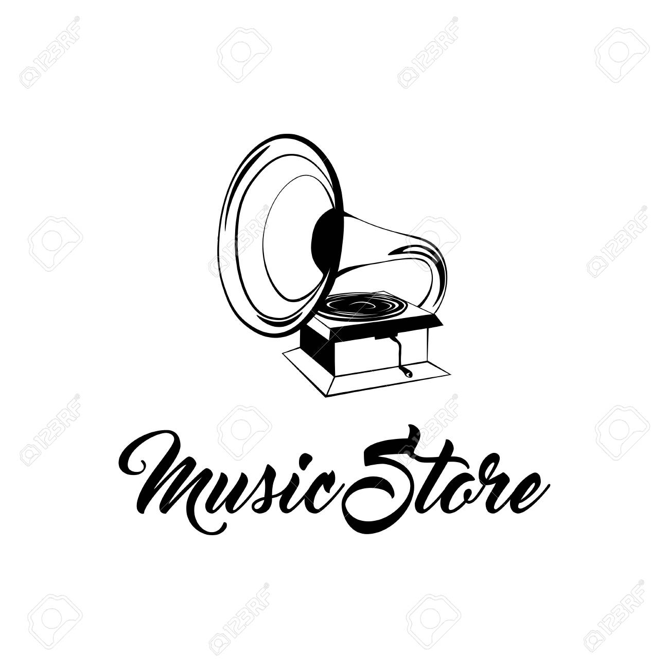 gramophone vintage hand drawing vector illustration music store royalty free cliparts vectors and stock illustration image 97190390 gramophone vintage hand drawing vector illustration music store