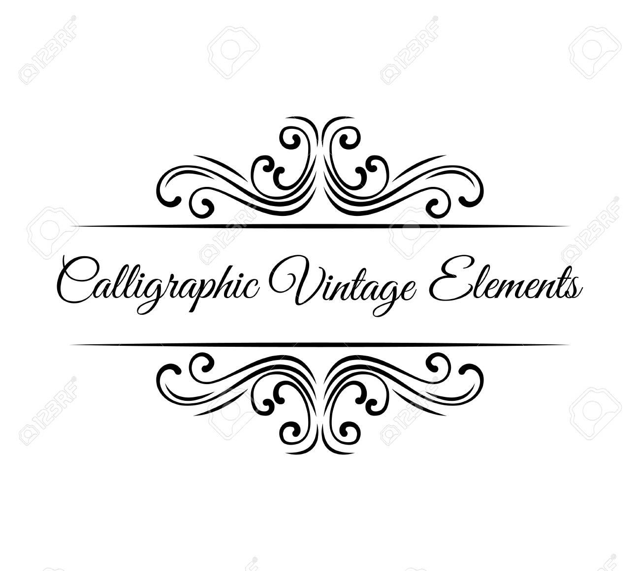 Calligraphic design elements. Vintage Vector Ornaments Decorations Design Elements. - 97592351