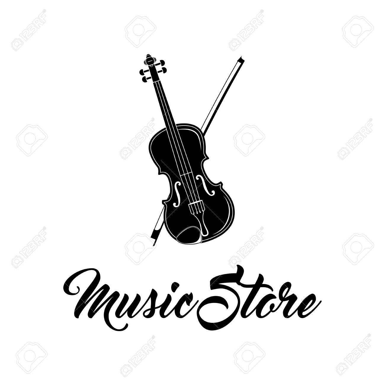 Violin Icon Music Store Logo Musical Instrument Symbol Vector