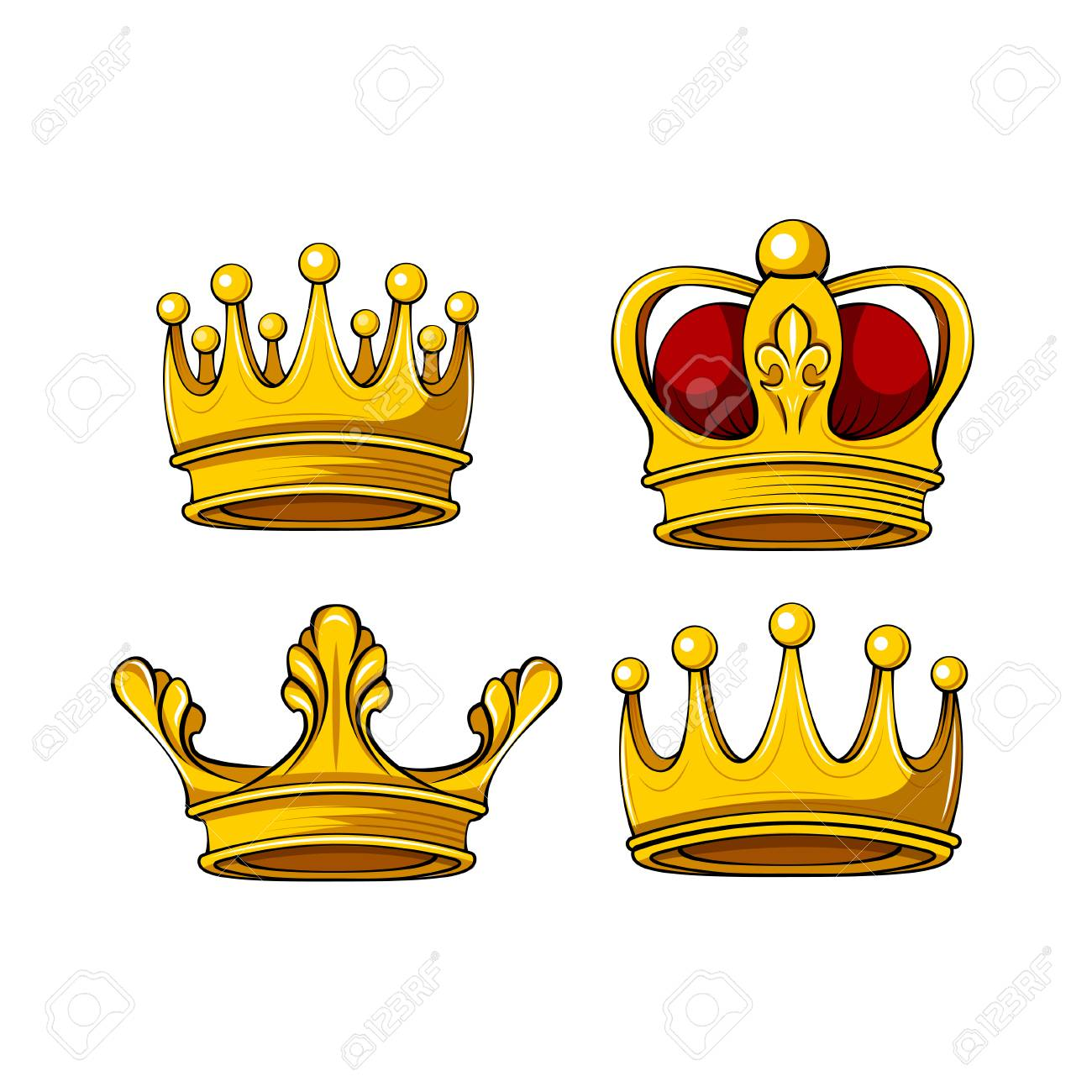 Cartoon Royal Crown Icons Set Vector King Queen Prince Princess