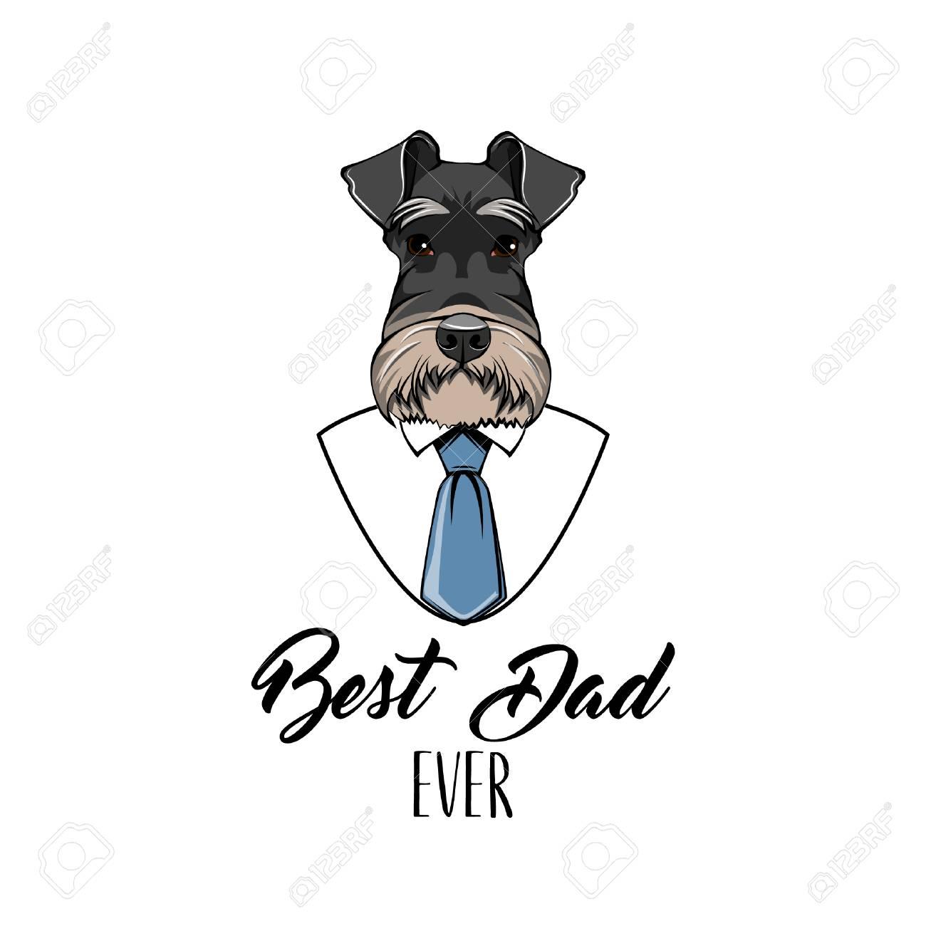 ba667957 Schnauzer Dog. Fathers day greeting card. White shirt, blue necktie. Best  dad