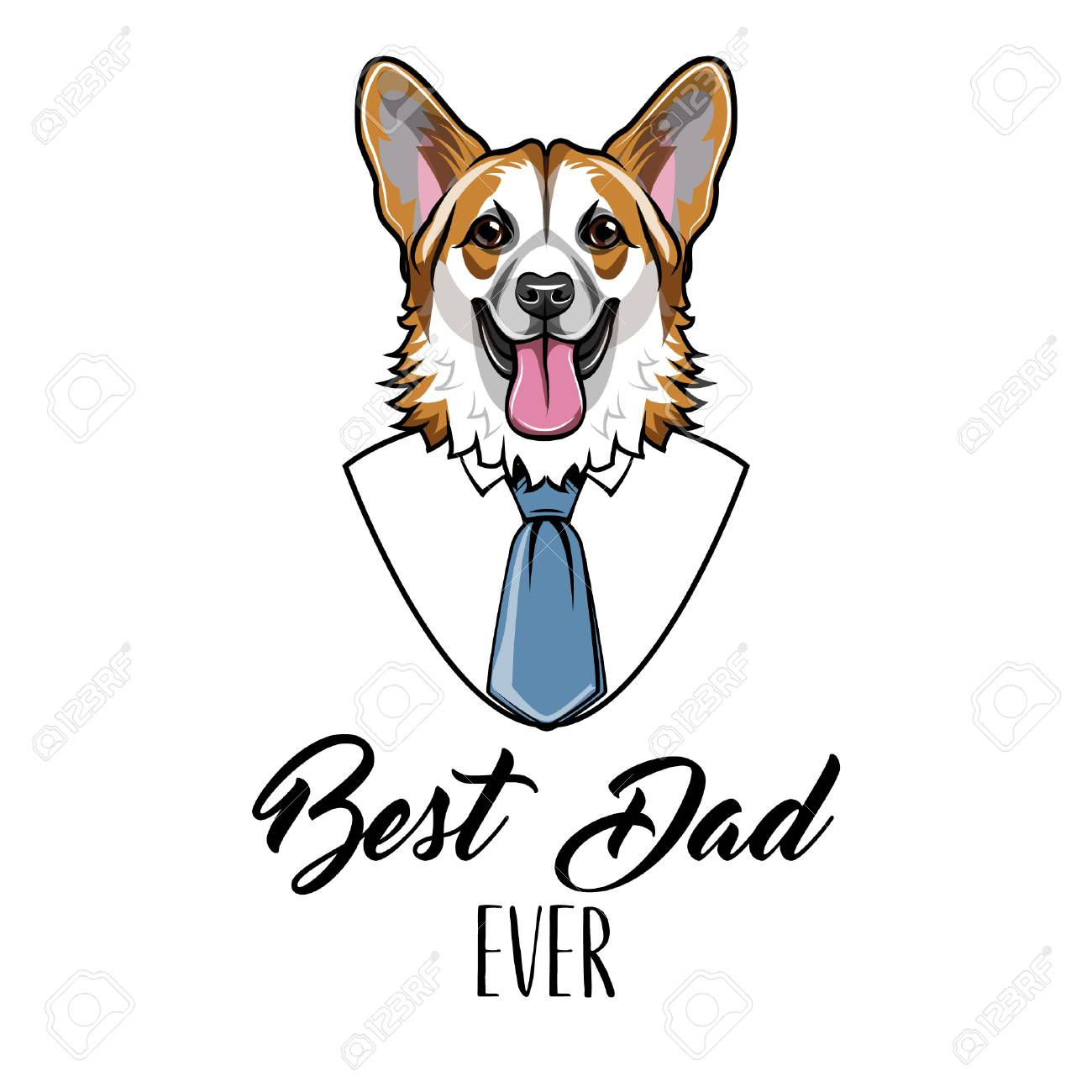 Welsh Corgi Fathers Day Holiday Greeting Card Design White