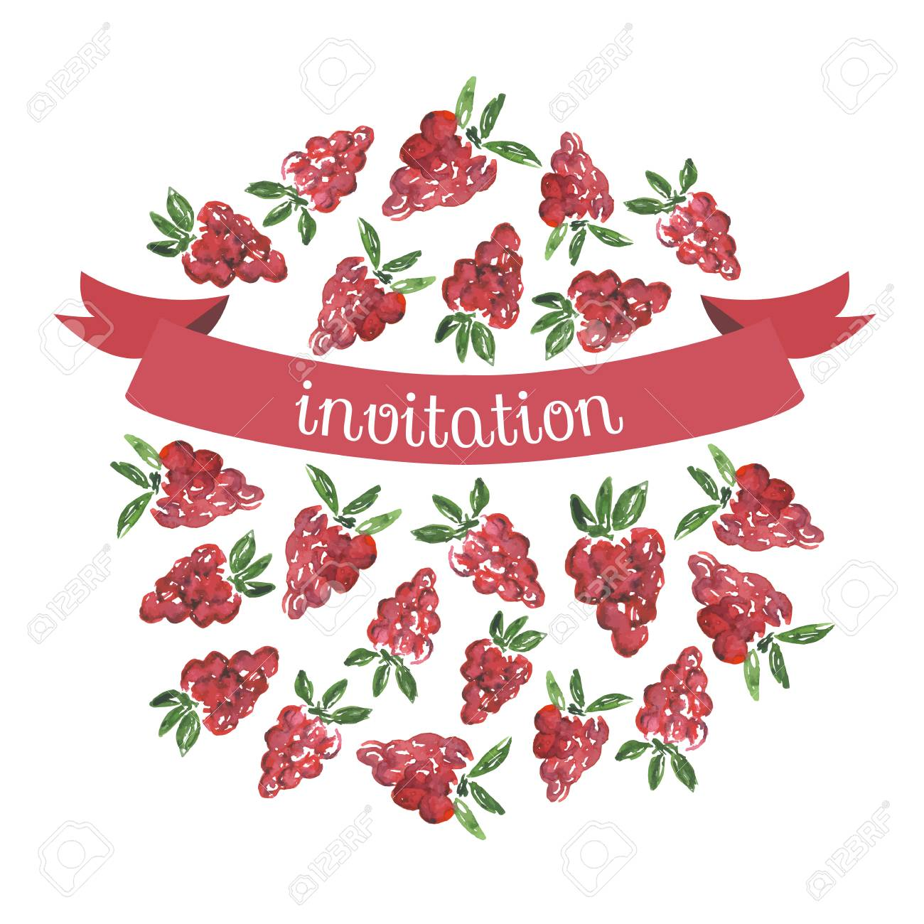 Watercolor Hand Drawn Invitationgreeting Card With Raspberry