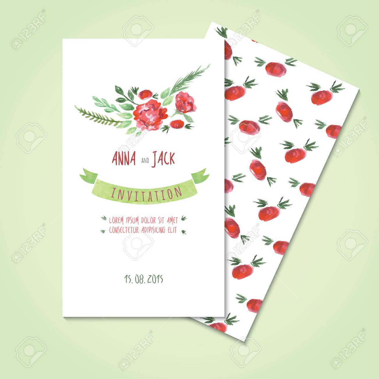 Watercolor Card Templates For Wedding Invitation Save The Date