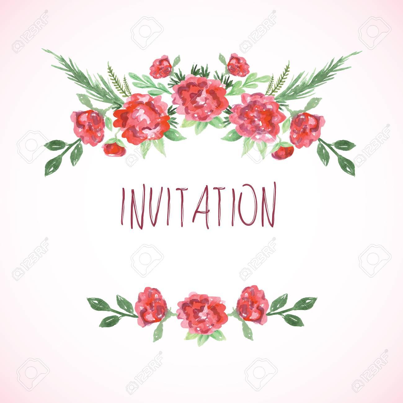 Aquarell Rosa Rot Und Grün-Vorlagen Für Hochzeitseinladung Retten ...