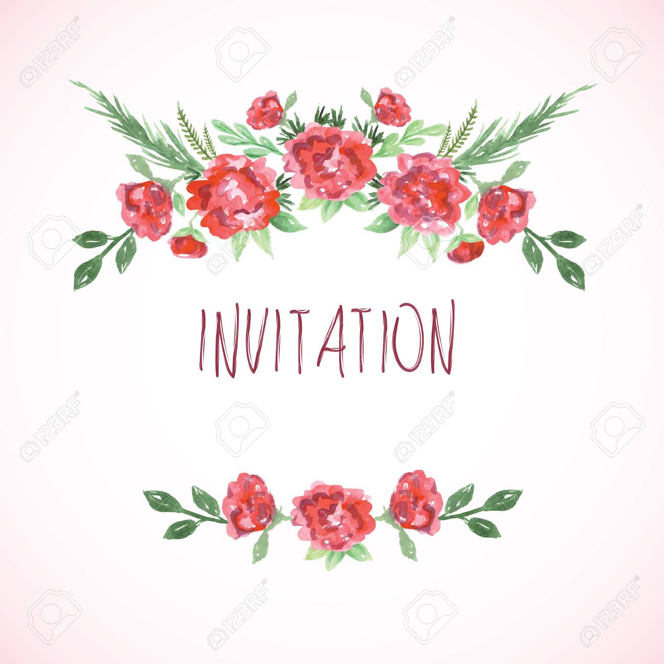 Watercolor Pink Red And Green Card Templates For Wedding Invitation ...