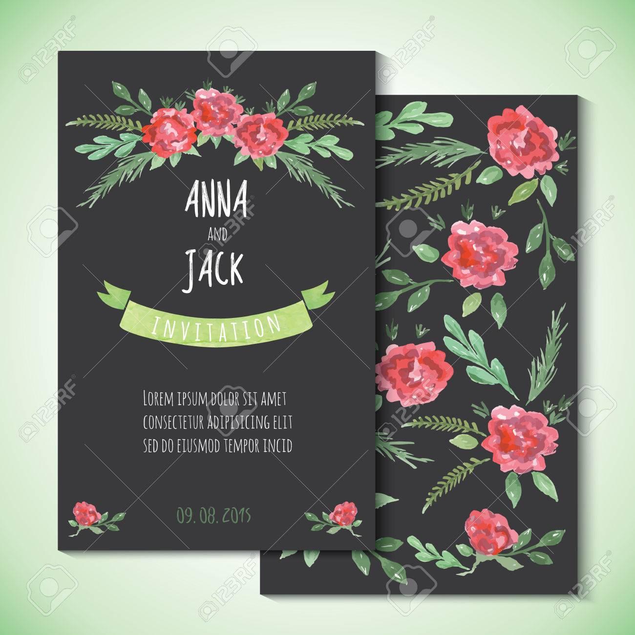 Aquarell Vorlagen Für Hochzeit, Einladung, Speichern Die Datumskarten,  Muttertag, Valentinstag,