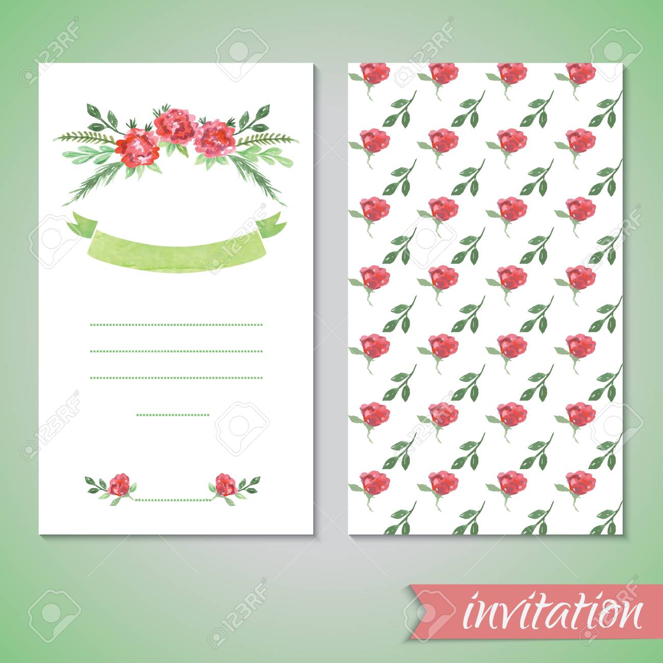 Watercolor Card Templates For Wedding Invitation, Save The Date ...