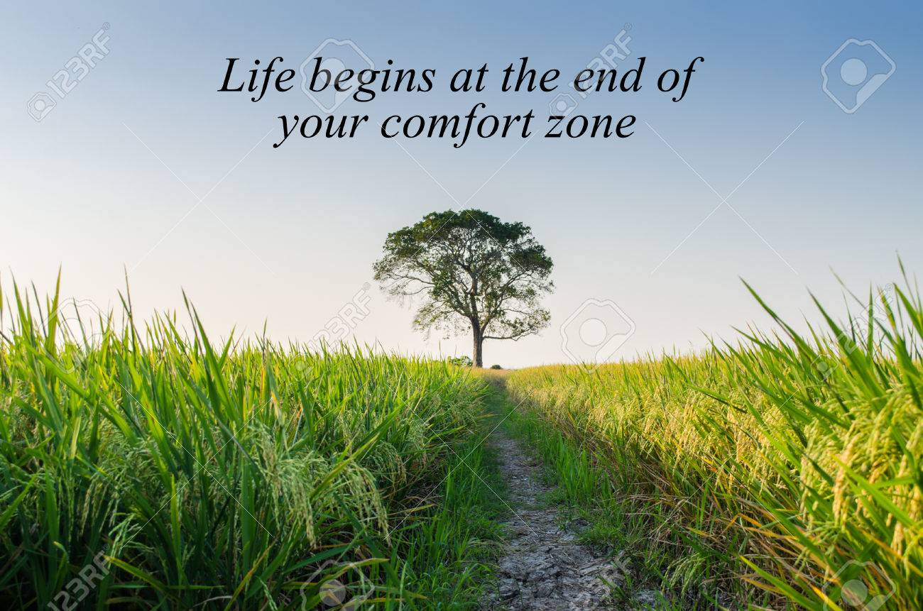 Inspirational Motivating Quote on nature background. Life begins..