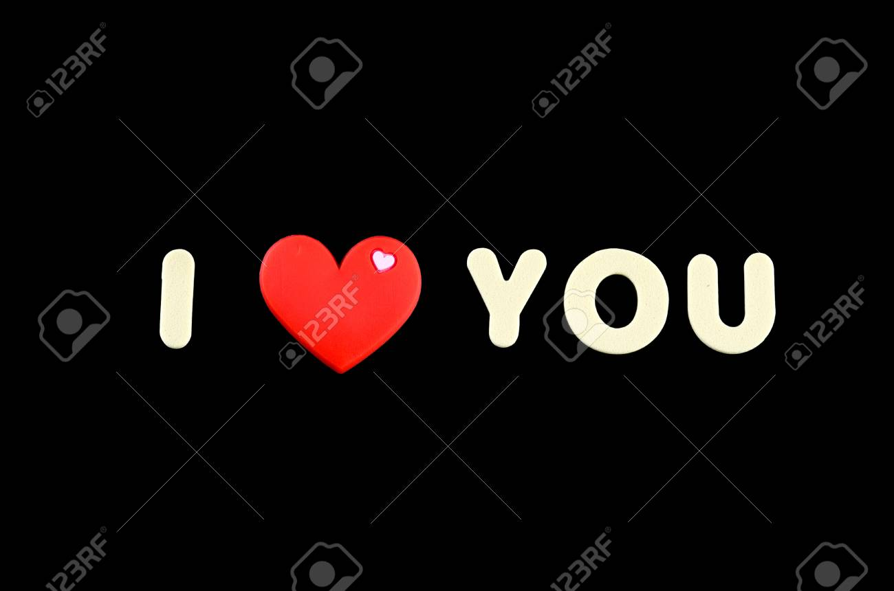 i love you letter with red love symbol over black background stock photo 71569723