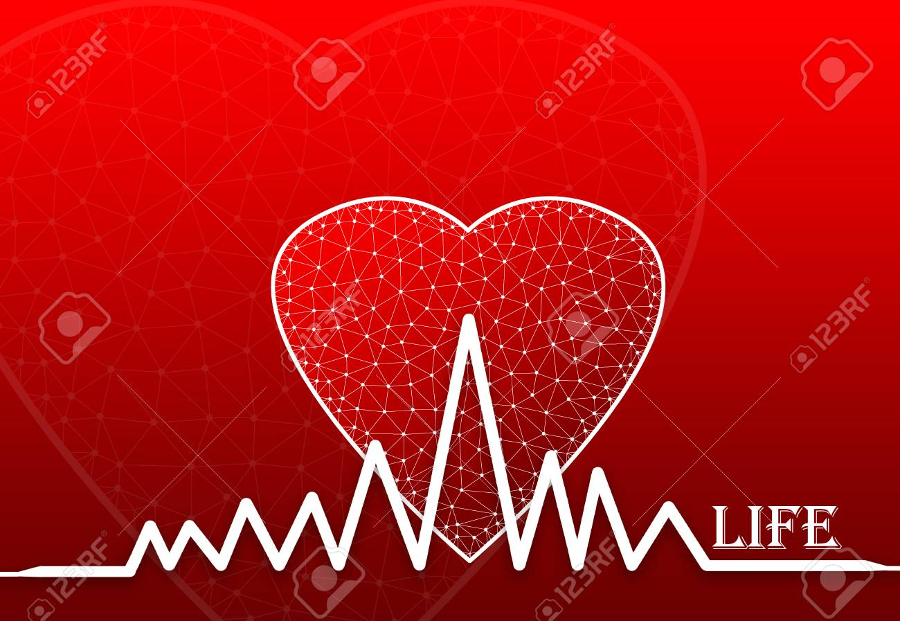 Heart Shape With Heart Beat Symbol And Text Life Stock Photo