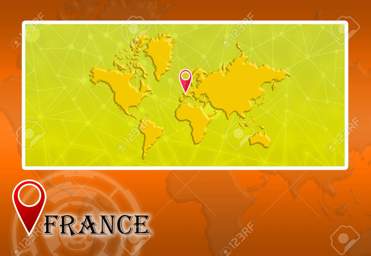 France In World Map With Pointer And Location Stock Photo, Picture ...