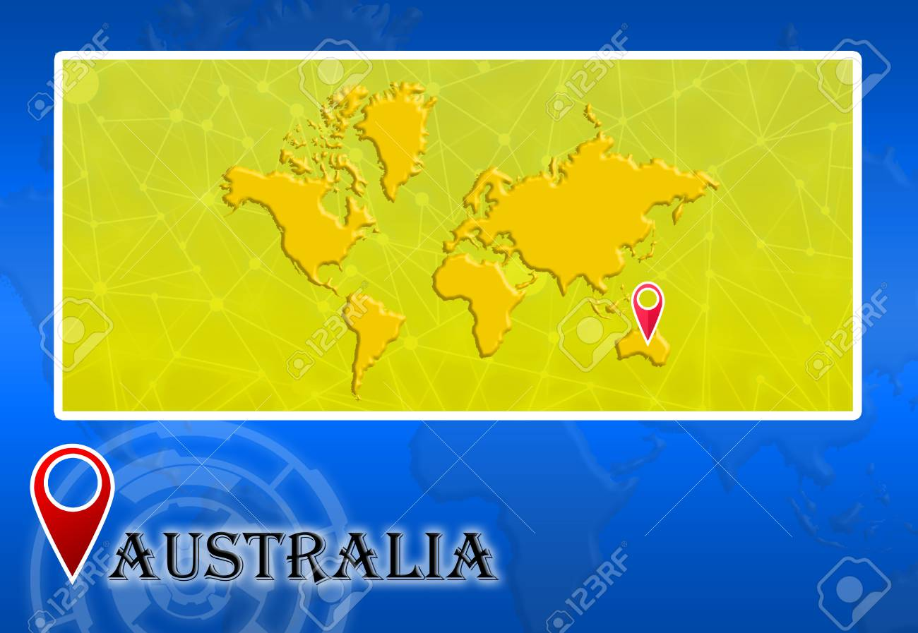 Australia In World Map With Pointer And Location Stock Photo ... on
