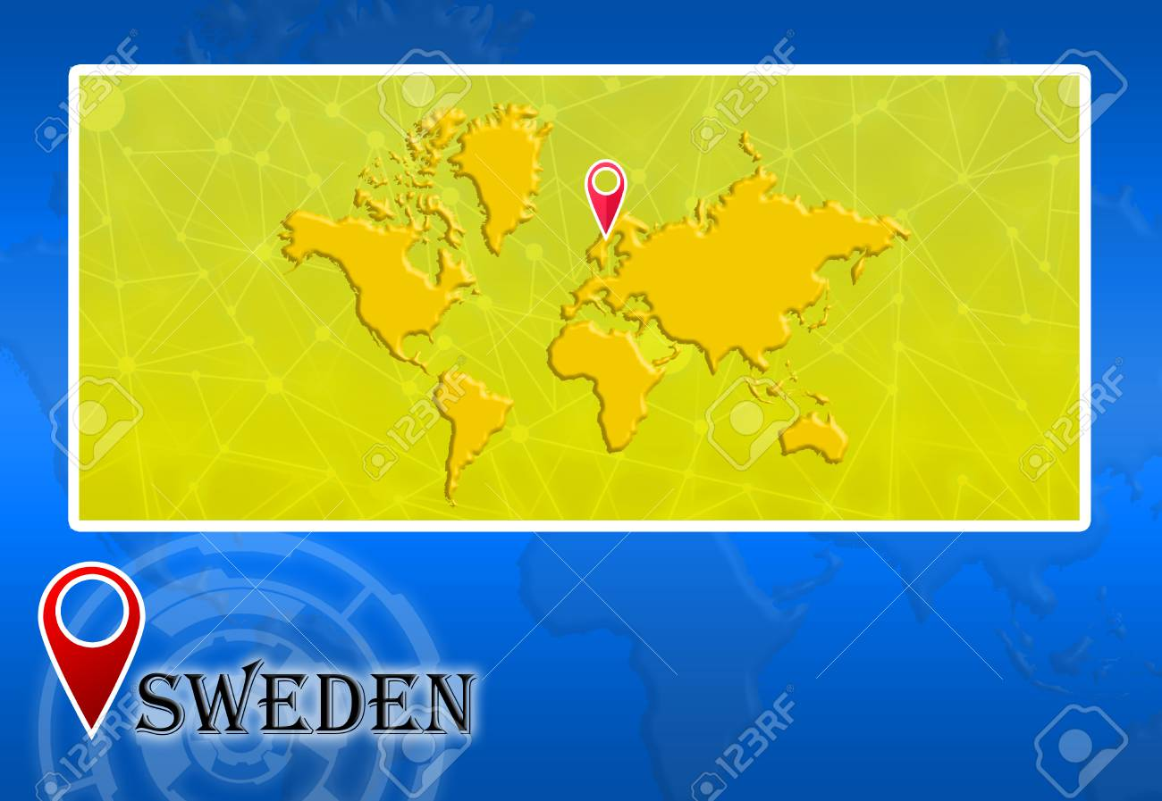 Sweden In World Map With Pointer And Location Stock Photo Picture And Royalty Free Image Image 73581259