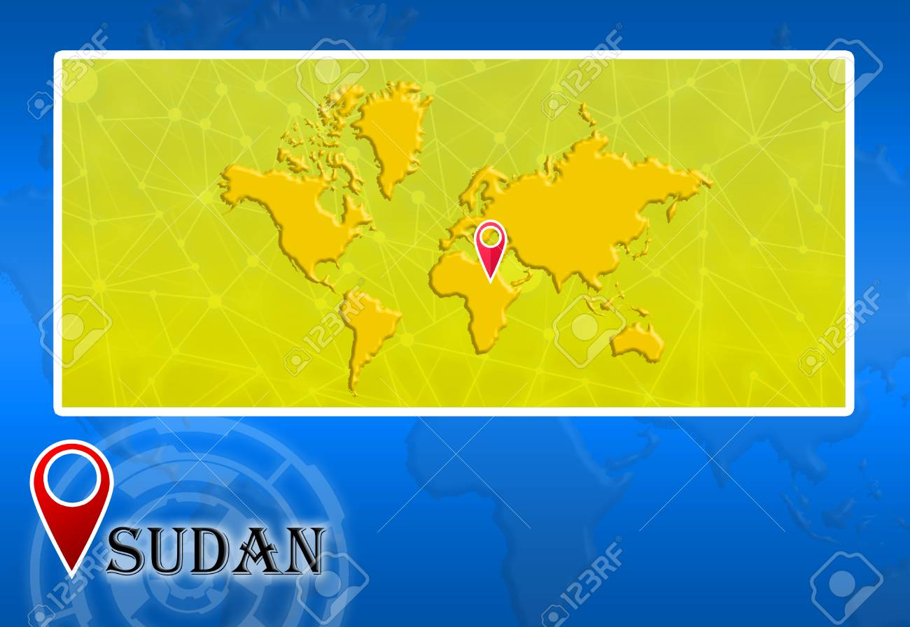 Sudan In World Map With Pointer And Location Stock Photo, Picture ...