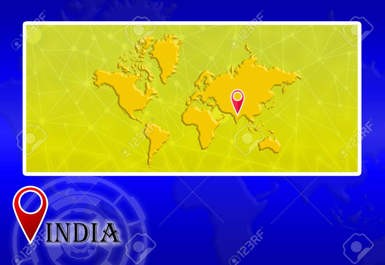 India In World Map With Pointer And Location Stock Photo Picture