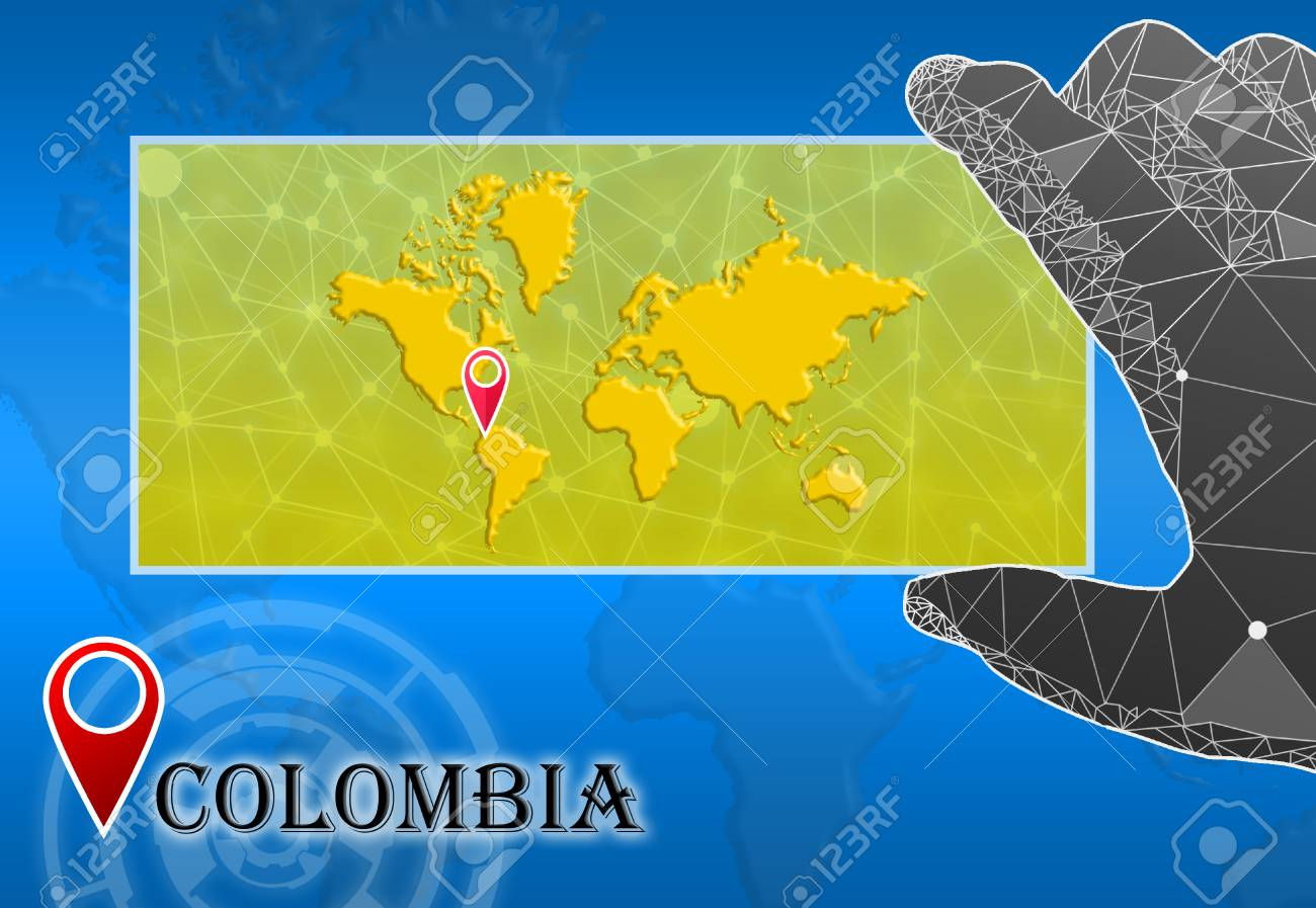 Image of: Columbia In Plain World Map With Polygonal Hand And Pointer Stock Photo Picture And Royalty Free Image Image 73490488