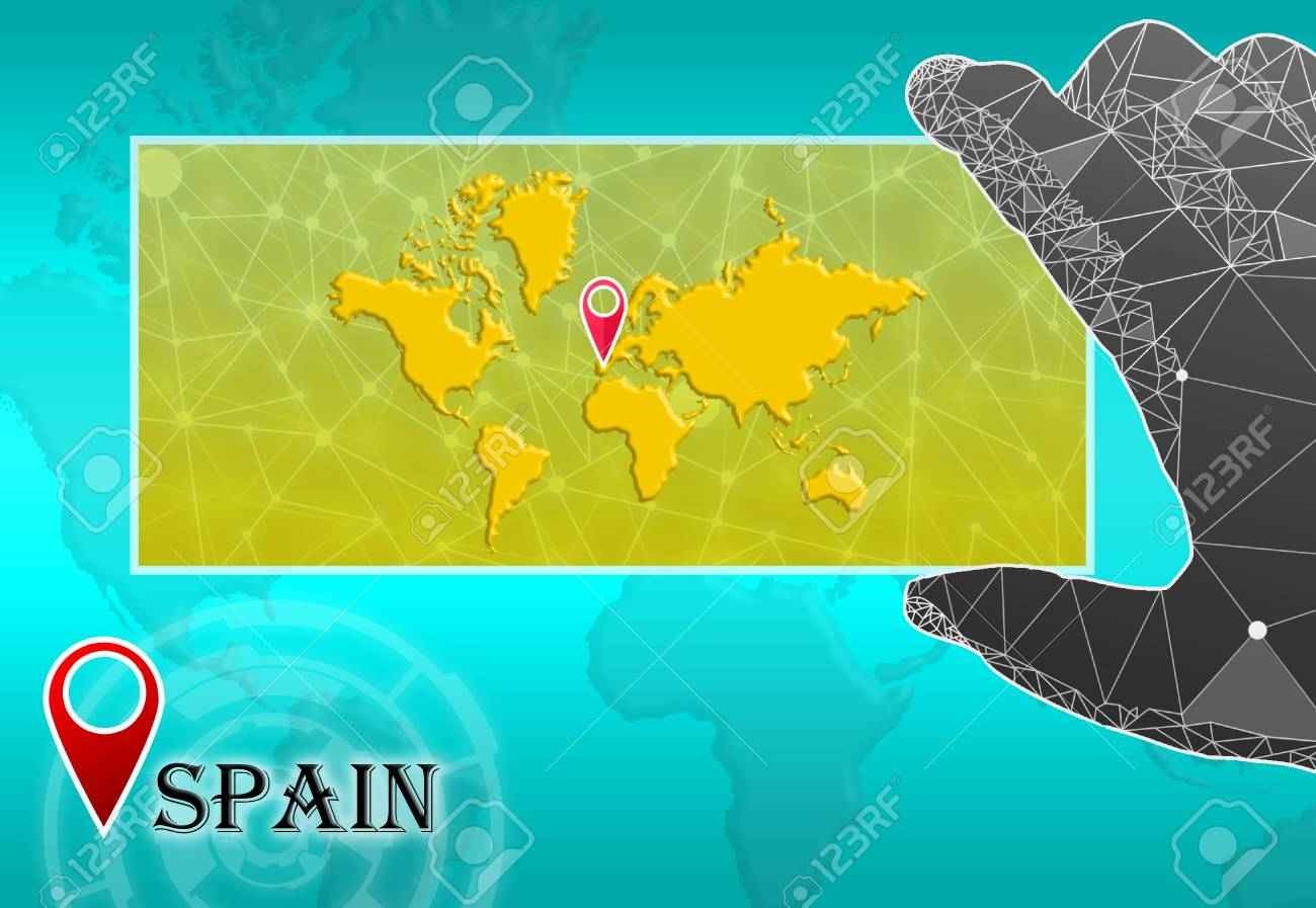 Spain in plain World Map with polygonal hand and pointer