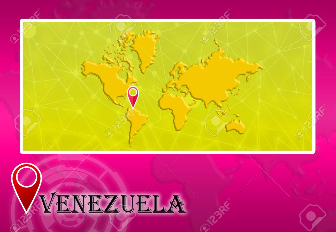 Venezuela In World Map With Pointer And Location Stock Photo