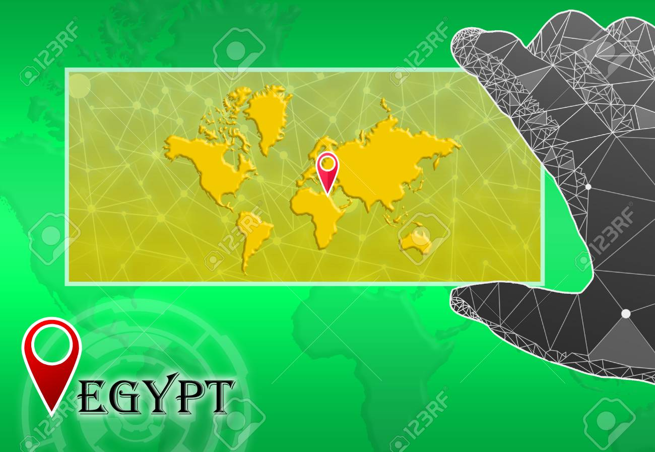 Egypt In Plain World Map With Polygonal Hand And Pointer Stock Photo