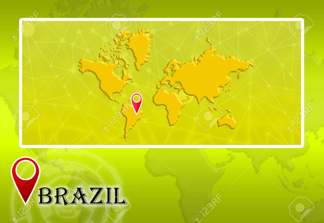 Brazil in world map with pointer and location stock photo picture brazil in world map with pointer and location stock photo 73534603 gumiabroncs Images
