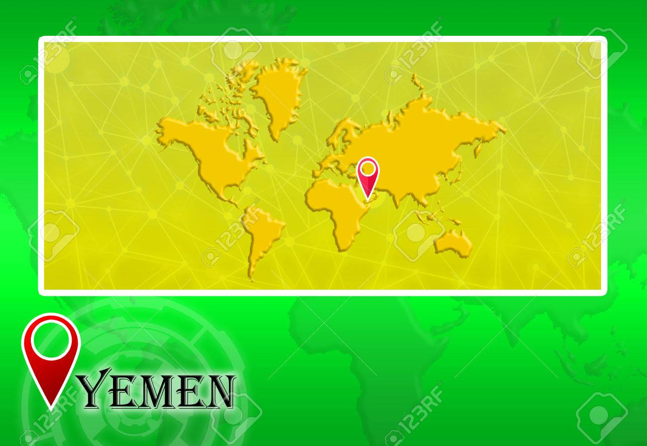 Yemen In World Map With Pointer And Location Stock Photo Picture