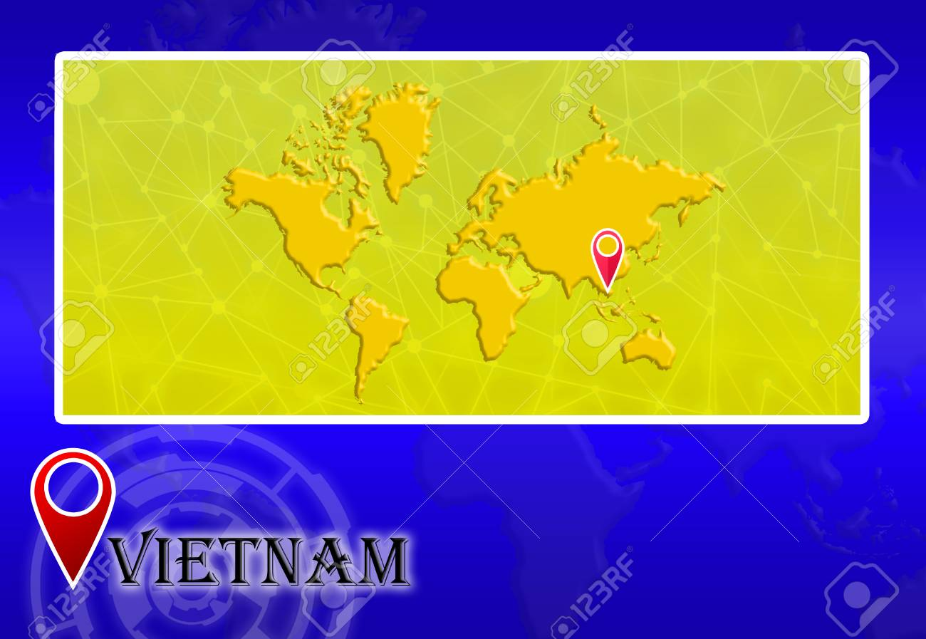 Vietnam In World Map With Pointer And Location Stock Photo, Picture ...