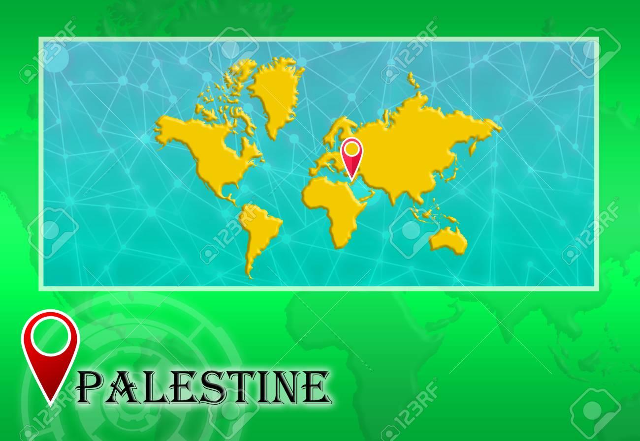 Palestina En El Mapa Mundial Con Puntero Y Ubicacion Fotos