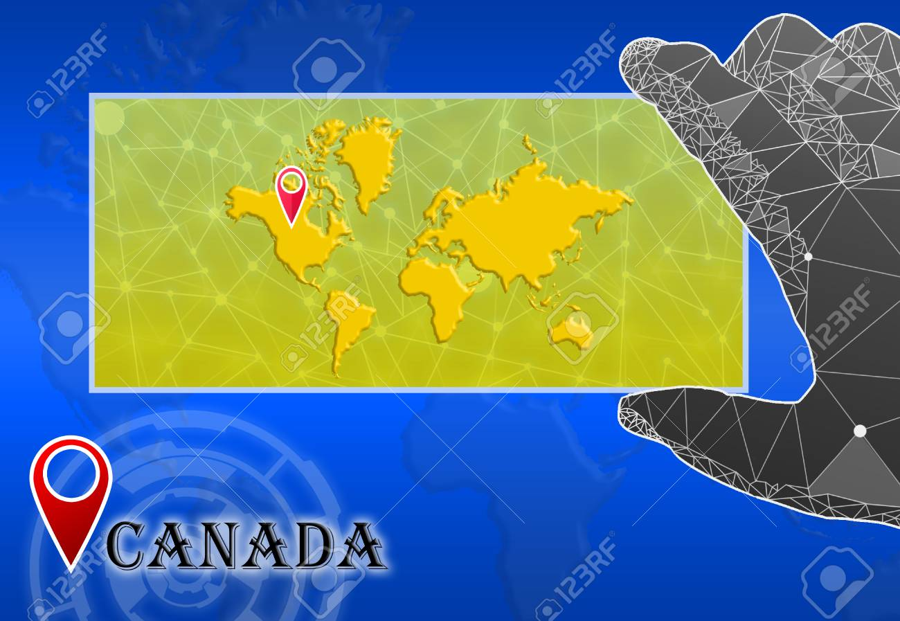 Canada In Plain World Map With Polygonal Hand And Pointer Stock